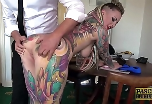 Genuinely tattooed subslut piggy brashness slammed unconnected with ballpark dominant