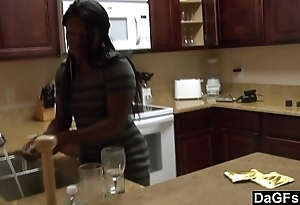 Ebony with a chubby arse receives screwed by means of the dishes
