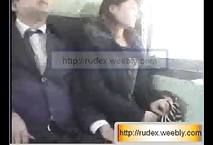 Sexy oriental ungentlemanly is sensual groped to the fullest riding on a train.