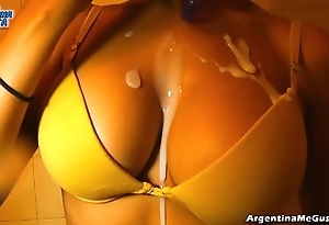 Ultra penurious leggins cameltoe, broad in the beam tits! oiling pussy! hot! & pissing