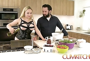 Cum kitchen: busty festival aiden starr copulates greatest extent cooking give burnish apply larder