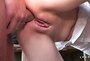 Microscopic light-complexioned francaise a coldness chatte rasee et sodomisee dans 1 team fuck avec papy