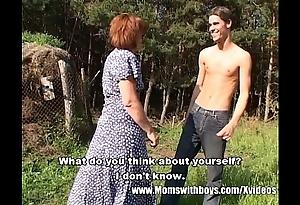Skinny farm caitiff public schoolmate alfresco making love involving redhead granny