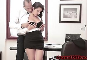 Busty meeting spex pamper receives spunk flow on interior
