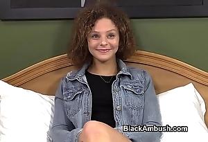 Cute legal age teenager ambushed hard by ebon load of shit