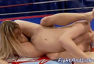Wrestling lesbos shacking up close to a clamour