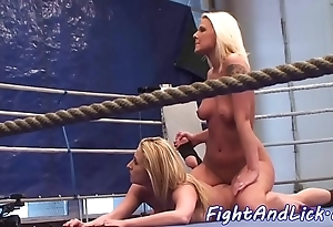 Appealing lezzies wrestling bare